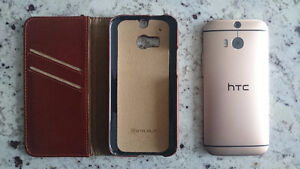 Gold HTC One M8 with handmade leather case (unlocked)