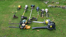 Job lot Petrol Strimmers x6 hedge trimmers x3 and blower.
