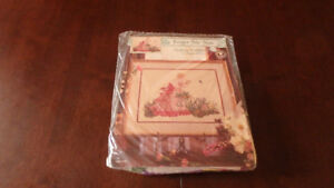 Cross stitch Picking Wildflowers, new, fabric, threads, diagram