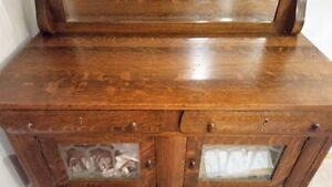 Antique Table Chair and Hutch Set
