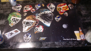 Two Molson Canadian NHL Hockey Masks Beer Posters