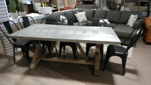 Canadian Supplier - Industrial Harvest Table and 6 x Metal Chair