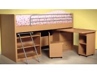 Children's single bed with desk