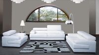 Set of salon modern sofa loveseat & chair in white leather
