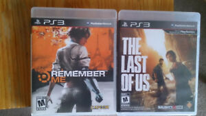 PS3 Last of Us, Remember Me, God of War 3, Uncharted 1-3