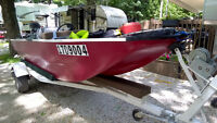 17 ft fishing boat with motor and trailer +