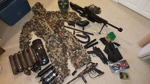 Large lot of paintball gear