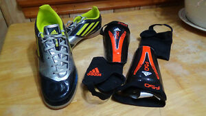 F5 Adidas cleats (indoor) + F50 Adidas shin guard+ dry fit socks