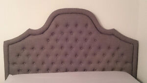 DARK GREY QUEEN TUFTED HEADBOARD