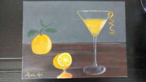 Cocktail Martini orange - Tableau peint à la main par SylAr