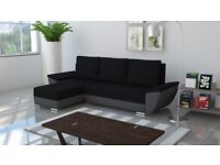CORNER SOFA BED IN BLACK AND GREY COLOUR 2 STORAGES, STRONG FABRIC