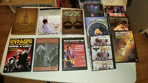lot de 12 dvd de musique: Pink Floyd,Rolling Stone,Johnny Cash