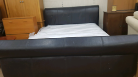 Leather Kingsize sleigh bed frame with mattress