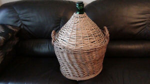 Demijohn Green Glass Wine Carboy in Wicker Basket