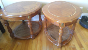 2 old fashioned end tables