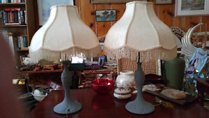 "2 Beautiful ornate metal lamps 26"" tall"