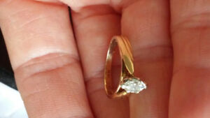 14K Yellow Gold Engagement Marquise Diamond Ring