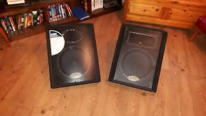 "Two Behringer Eurolive PA speakers with 12"" woofers"