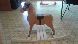 "Really nice Handcrafted Wooden Rocking Horse 37"" Tall"