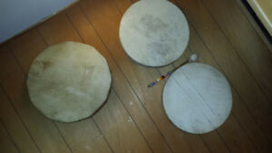 3 Large Moose Hide Native drums