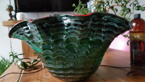 Glass Vase Large Clam Shell Shaped Greens & Red/Orange Accents