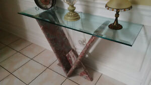 Glass and Marble table West Island Greater Montréal image 2