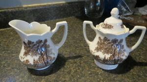 J.&G. Meakin Royal Staffordshire sugar bowl and creamer