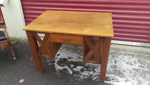 Antique Double Sided Solid Wood Desk