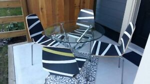 Round Metal Glass Top Table and Chairs