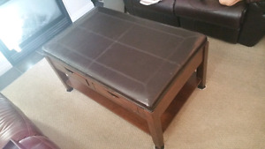 TABLE OTTOMAN - Premium dark brown leather/wood