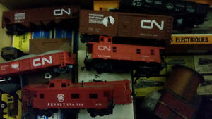 Assorted HO scale train engine, cars, track and accessories