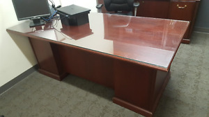 Solid wood desk & credenza - cherry finish - FREE