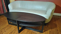 Oval Coffee Table, black-brown & Cream Leather Sofa  >> $533.00