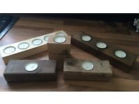 Handmade candle holders.
