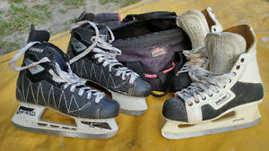 Bauer and CCM hockey skates