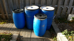 Blue Poly Barrels for Sale - Individual or as a lot.