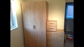 Chest bedside table and wardrobe