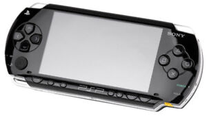 PSP with games and case