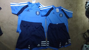 2t boys authentic adidas soccer shirt and short.
