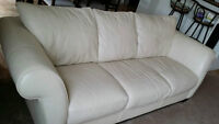 2007 2 Piece White 100% Genuine Leather SOFA and LOVESEAT