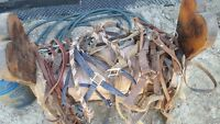 horse bridles and saddle stand
