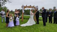 Benches arbour and riverbank wedding with camping