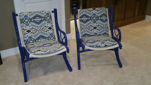 Pair of Mid Century Modern Rattan Arm Chairs