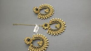 Latest Indian Bollywood Jewellery Earring Tikka Set.
