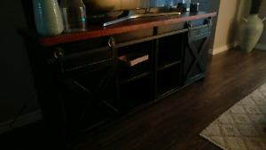 Sliding barn door TV stand - 6ft, solid wood