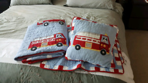 Twin bed Fire Truck comforters and pillow shams