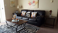 Leather Sofa + 2 Side Tables + Coffee Table (Moving out Sale)