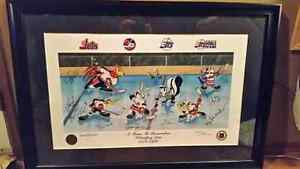 Winnipeg Jets Looney Tunes signed/framed print