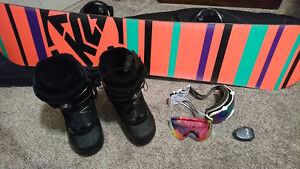 Women's Snowboard, Boots, Bindings, Goggles, Lock & Bag (ALL IN)
