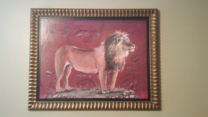 Safari Lion paiting with Gold leaf border